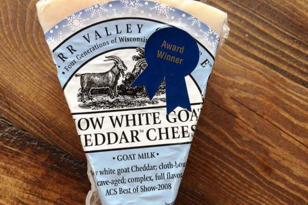 Carr Valley Wisconsin White Goat cheddar cheese